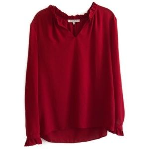 ROSE & OLIVE Christmas Red Tunic Blouse w/ Ruffle